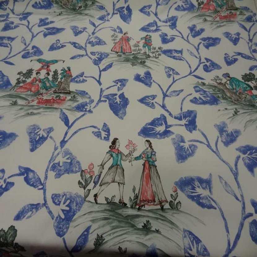 Coton d ameublement imprime toile de jouy ecrue bleu rouge4