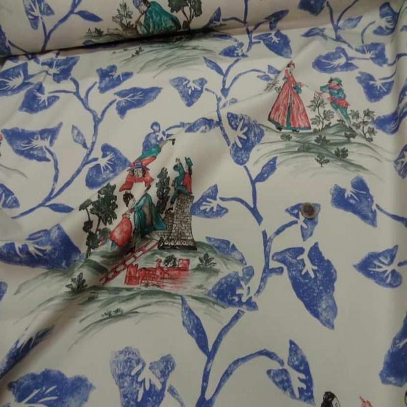 Coton d ameublement imprime toile de jouy ecrue bleu rouge5