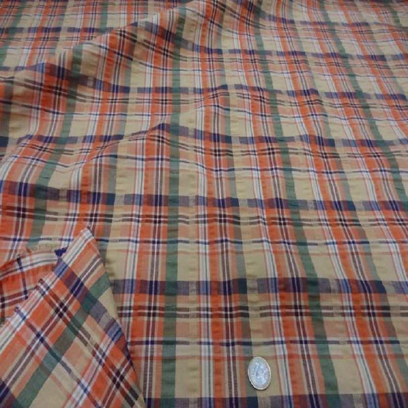 Coton extensible imprime rayure jaune vert orange1