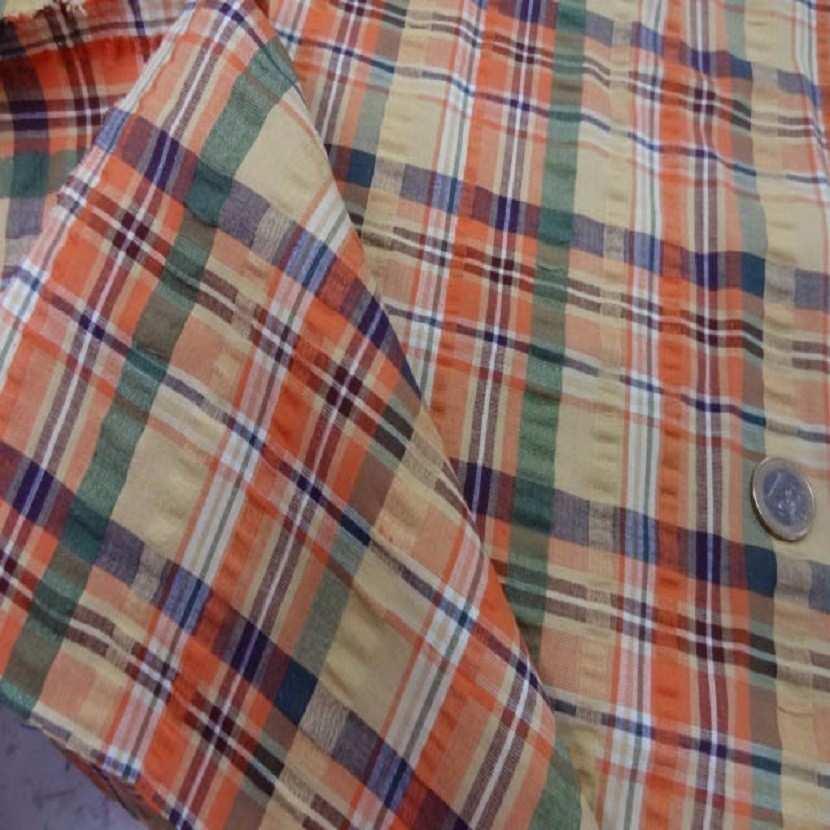 Coton extensible imprime rayure jaune vert orange5
