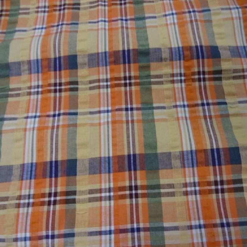 Coton extensible imprime rayure jaune vert orange8