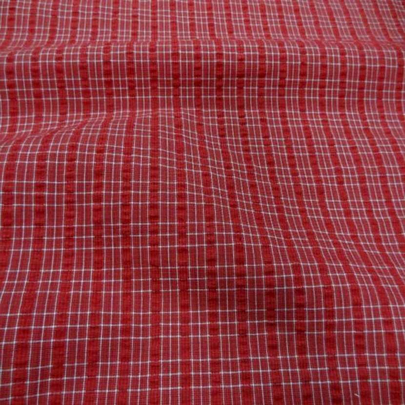 Coton extensible imprime rayure rouge blanc