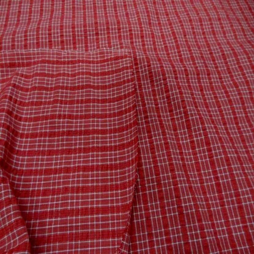 Coton extensible imprime rayure rouge blanc0