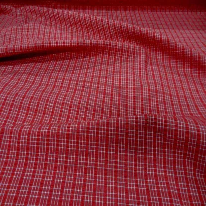 Coton extensible imprime rayure rouge blanc6