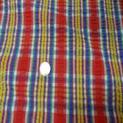 Coton extensible imprime rayure rouge jaune vert bleu