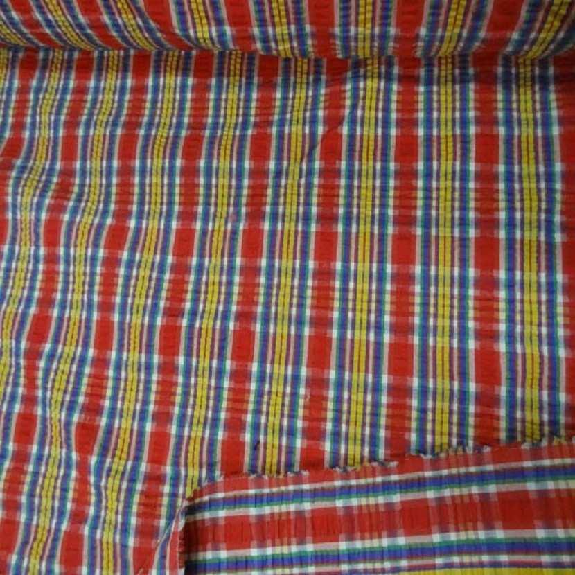 Coton extensible imprime rayure rouge jaune vert bleu1