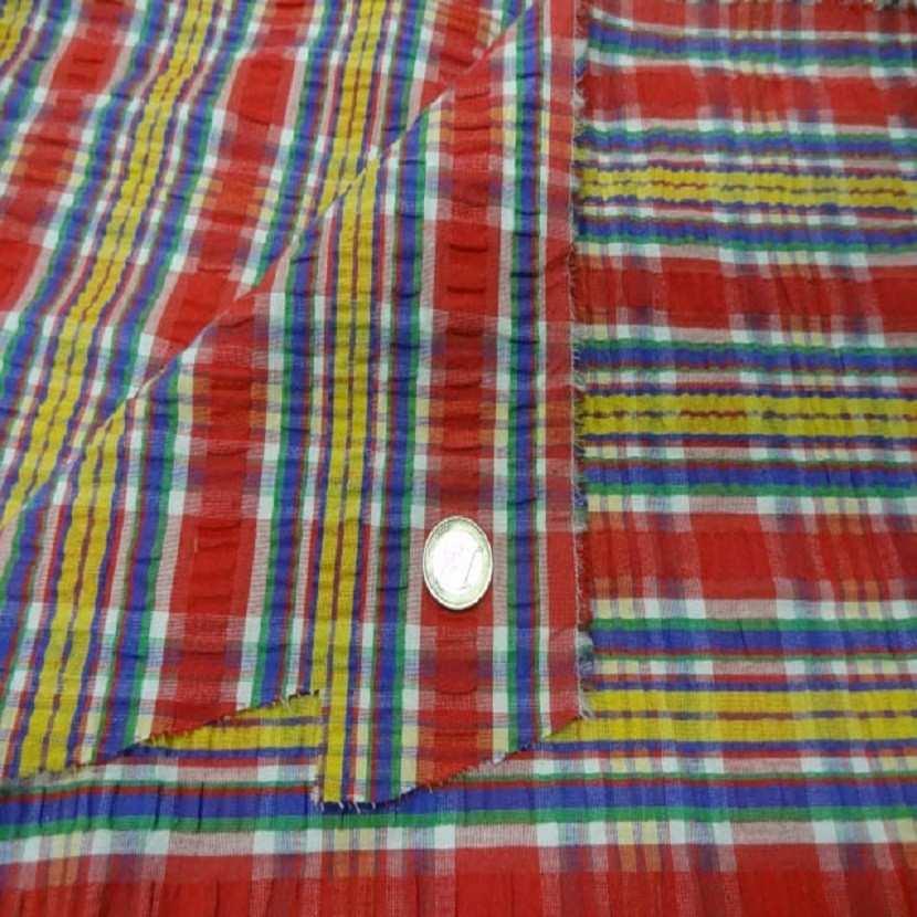 Coton extensible imprime rayure rouge jaune vert bleu4