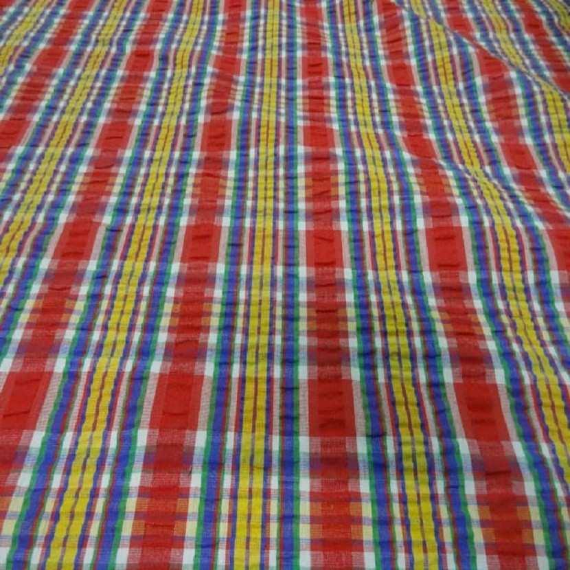 Coton extensible imprime rayure rouge jaune vert bleu6