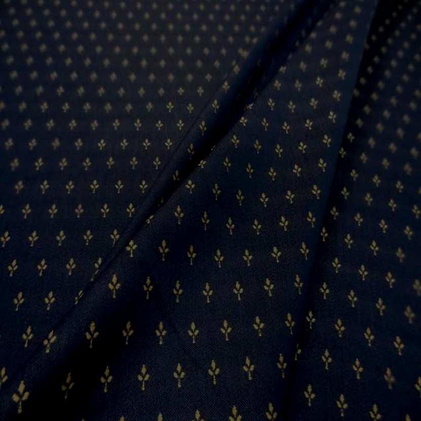 Coton faconne petite fleurs bleu a motifs beige3