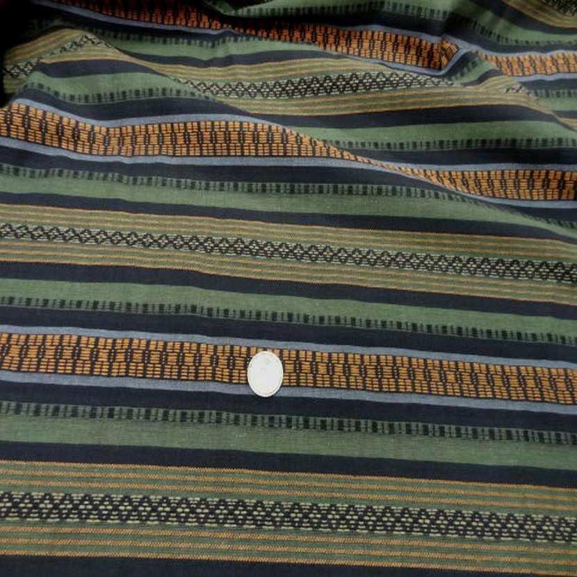 Coton faconne rayures kaki noir safran5