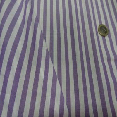 Coton fin a rayures blanc mauve lavande