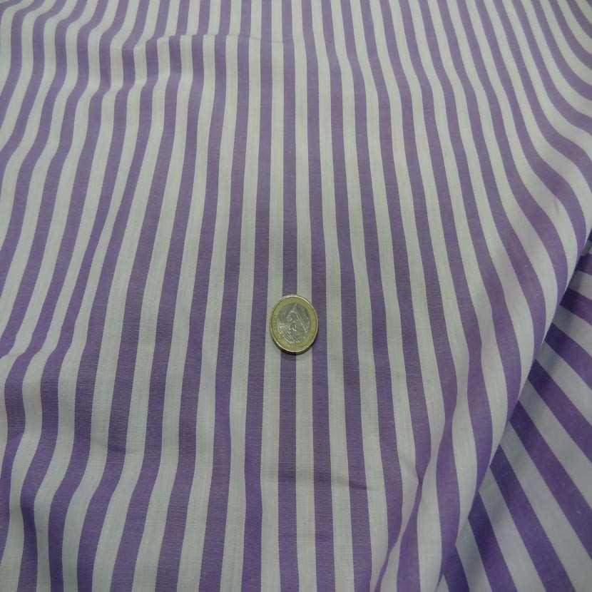 Coton fin a rayures blanc mauve lavande2