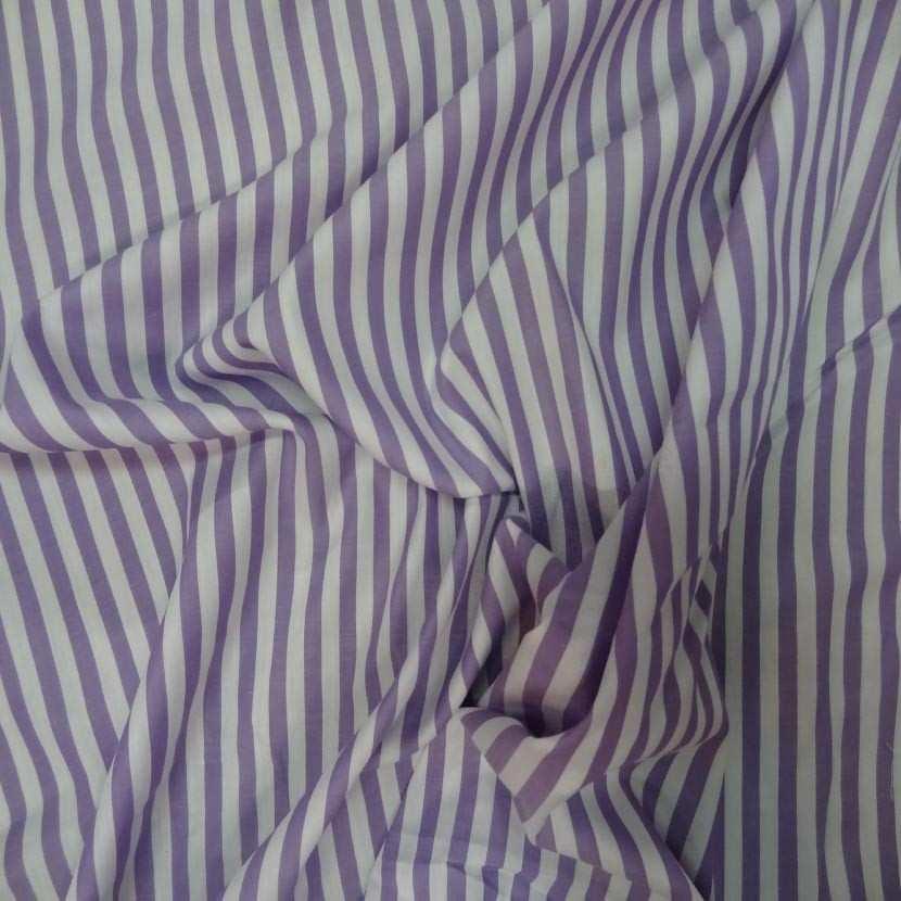 Coton fin a rayures blanc mauve lavande5
