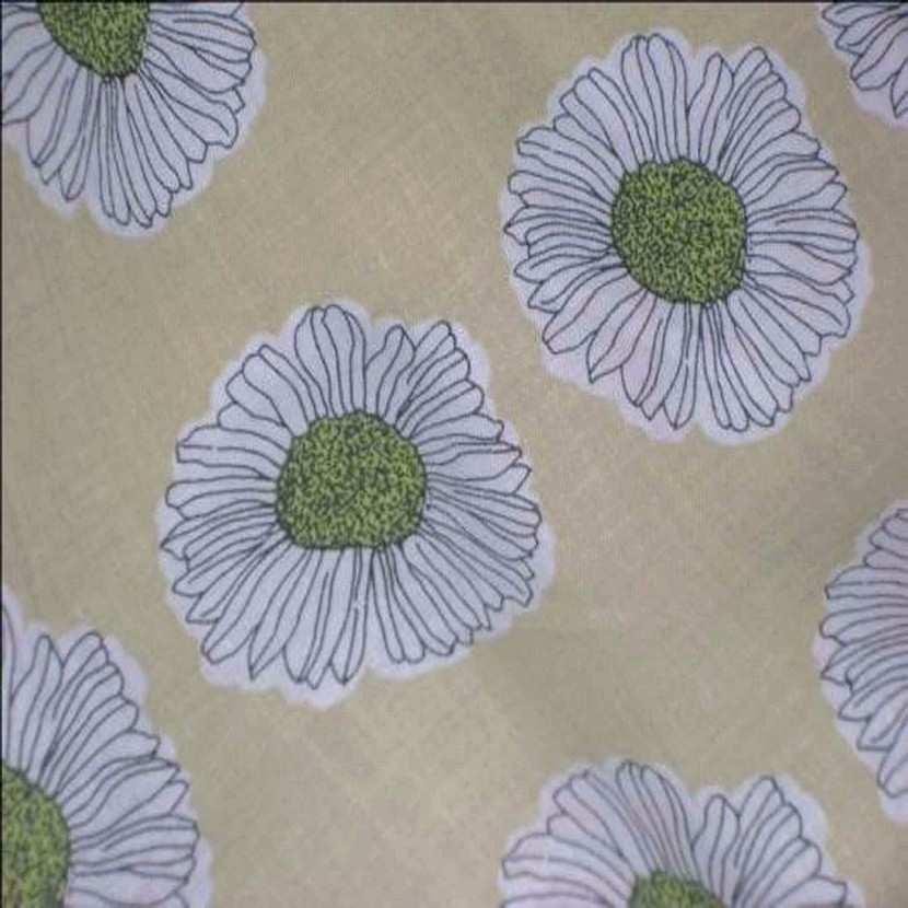 Coton fin beige imprime fleurs ton kaki8