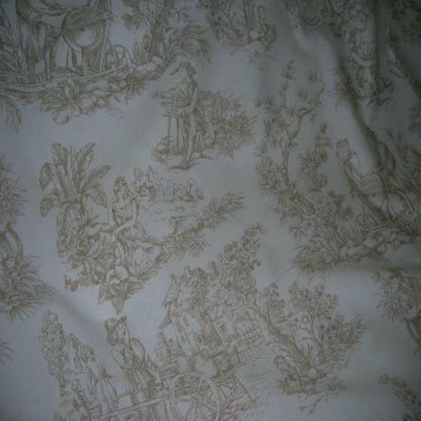 Coton fin blanc imprime toile de jouy beige en 2 80m de large