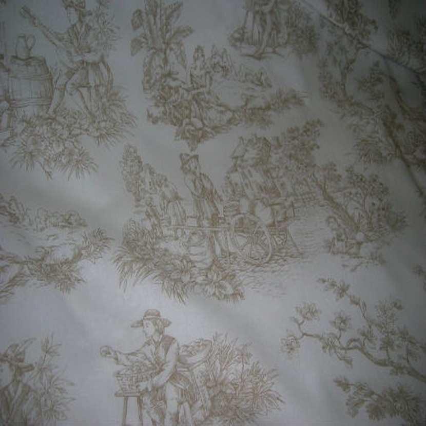 Coton fin blanc imprime toile de jouy beige en 2 80m de large1