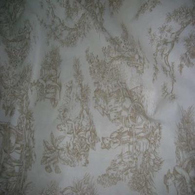 Coton fin blanc imprime toile de jouy beige en 2 80m de large9