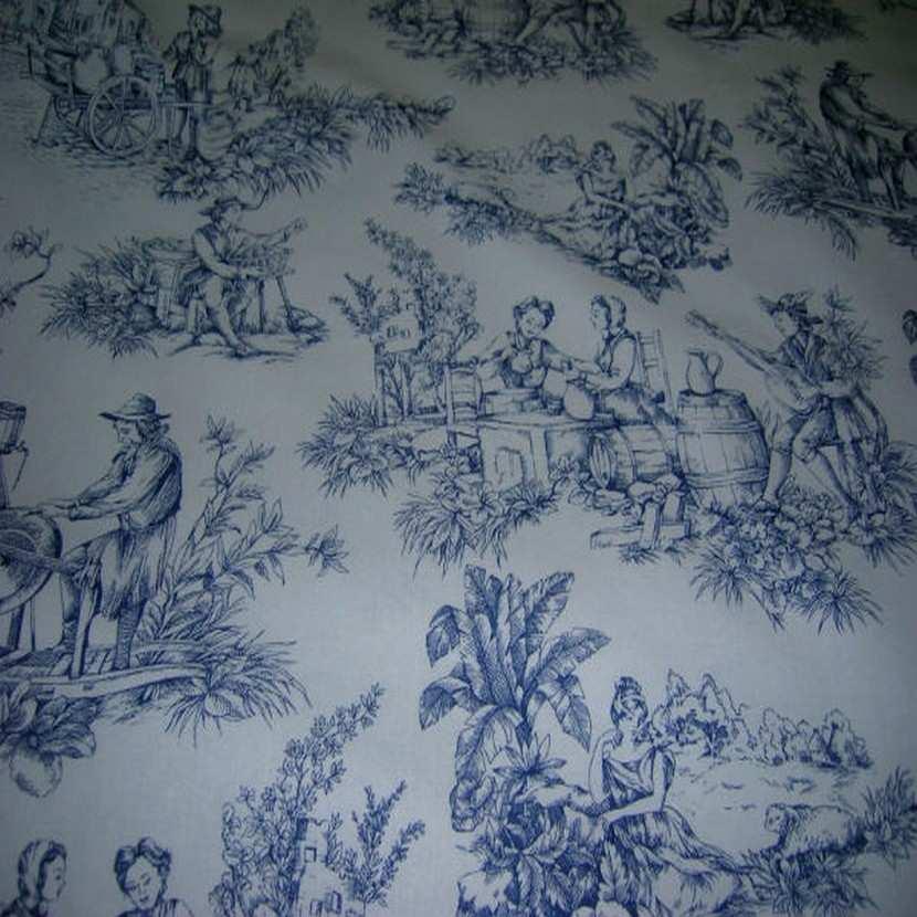Coton fin blanc imprime toile de jouy bleu