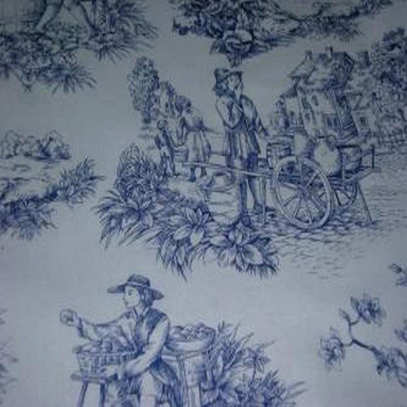 Coton fin blanc imprime toile de jouy bleu0