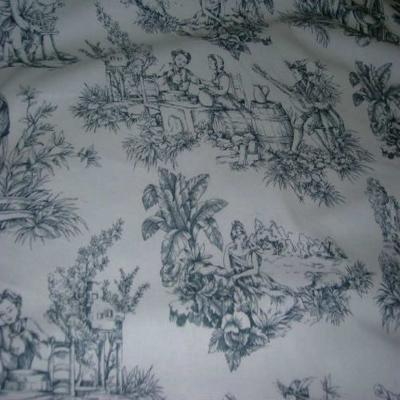 Coton fin blanc imprime toile de jouy grise