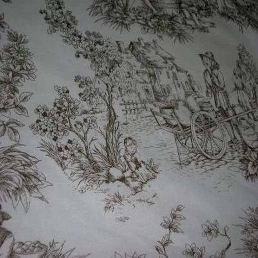 Coton fin blanc imprime toile de jouy marron