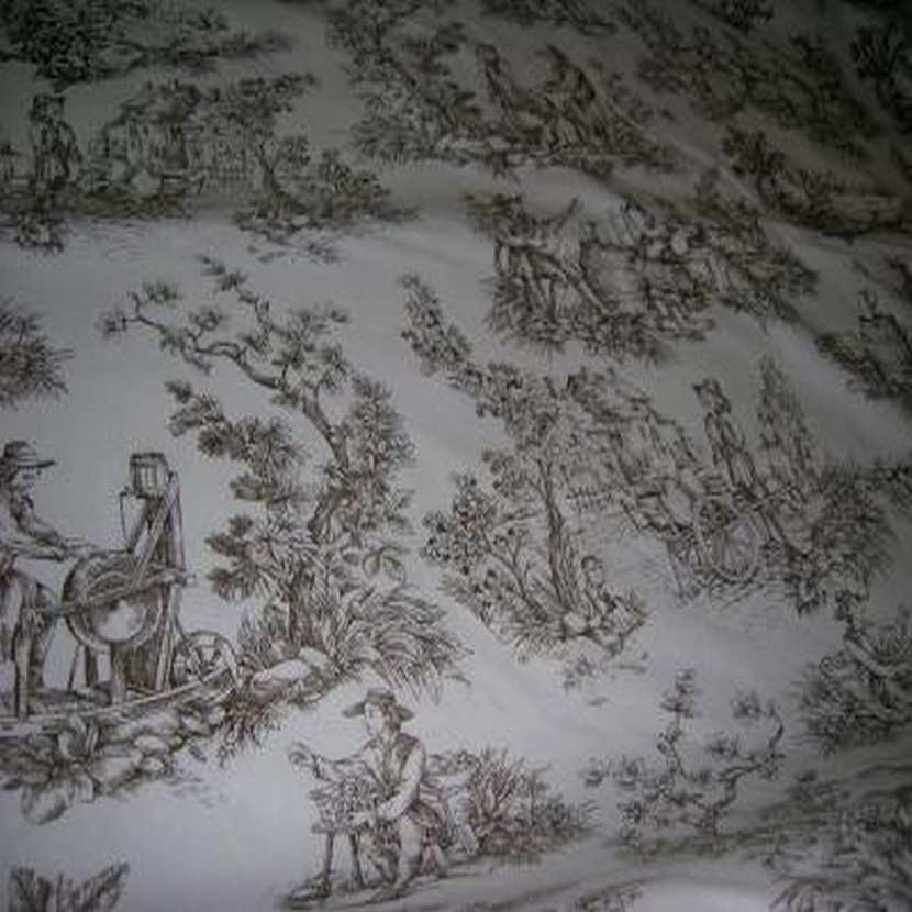 Coton fin blanc imprime toile de jouy marron2