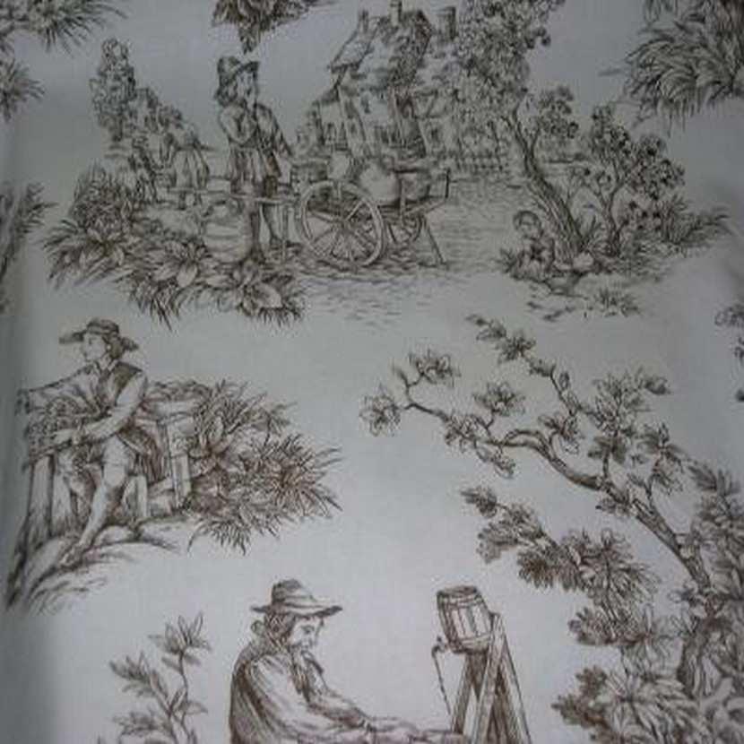 Coton fin blanc imprime toile de jouy marron3