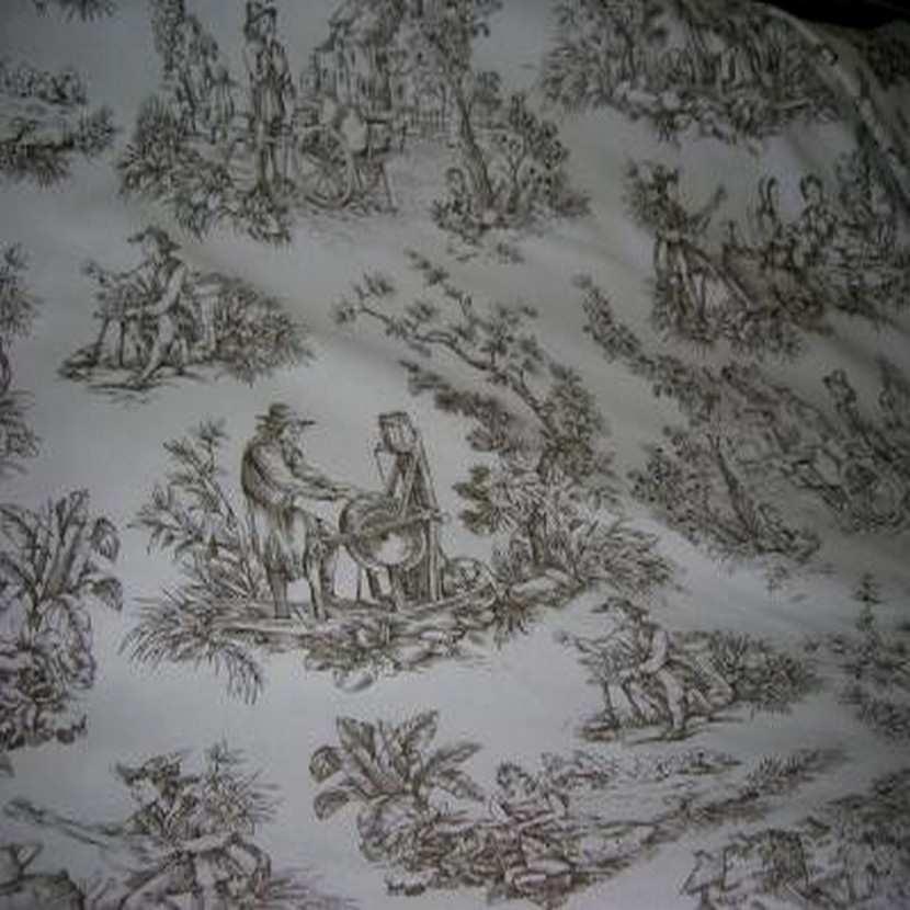 Coton fin blanc imprime toile de jouy marron6