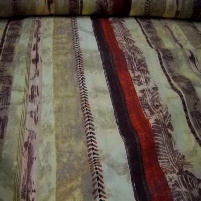 Coton fin imprime tribu africaine a rayures en 2 80m de large