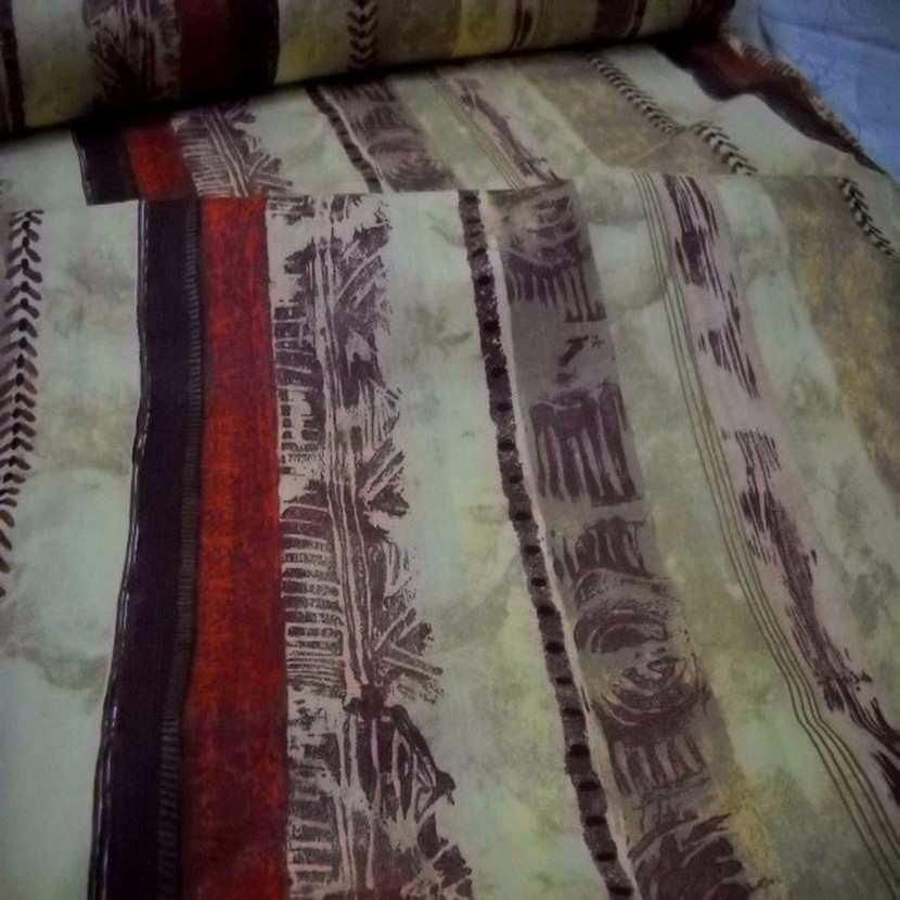 Coton fin imprime tribu africaine a rayures en 2 80m de large1