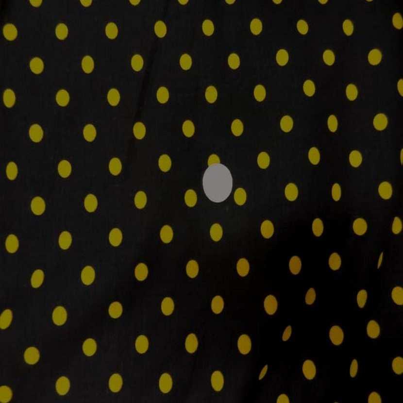 Coton fin noir imprime pois jaune2