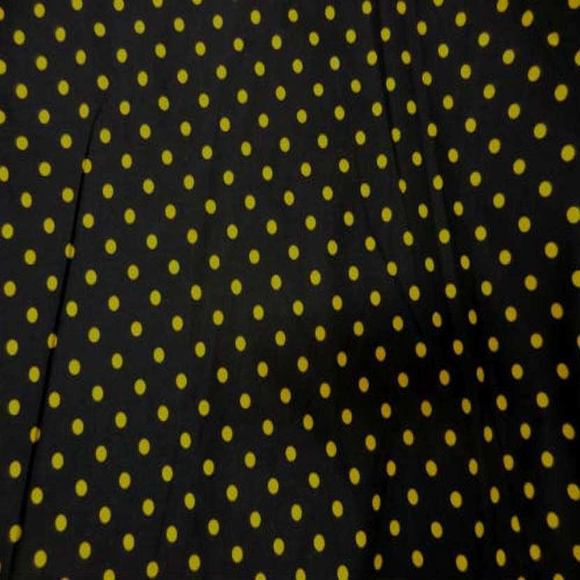 Coton fin noir imprime pois jaune3