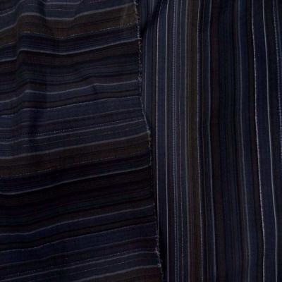 Coton fin raye bleu marine marron avec un fil lurex meta l en 1 60m