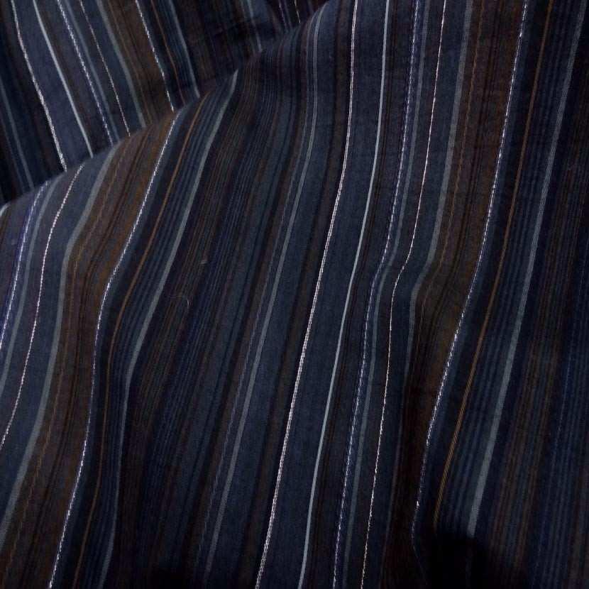 Coton fin raye bleu marine marron avec un fil lurex meta l en 1 60m3