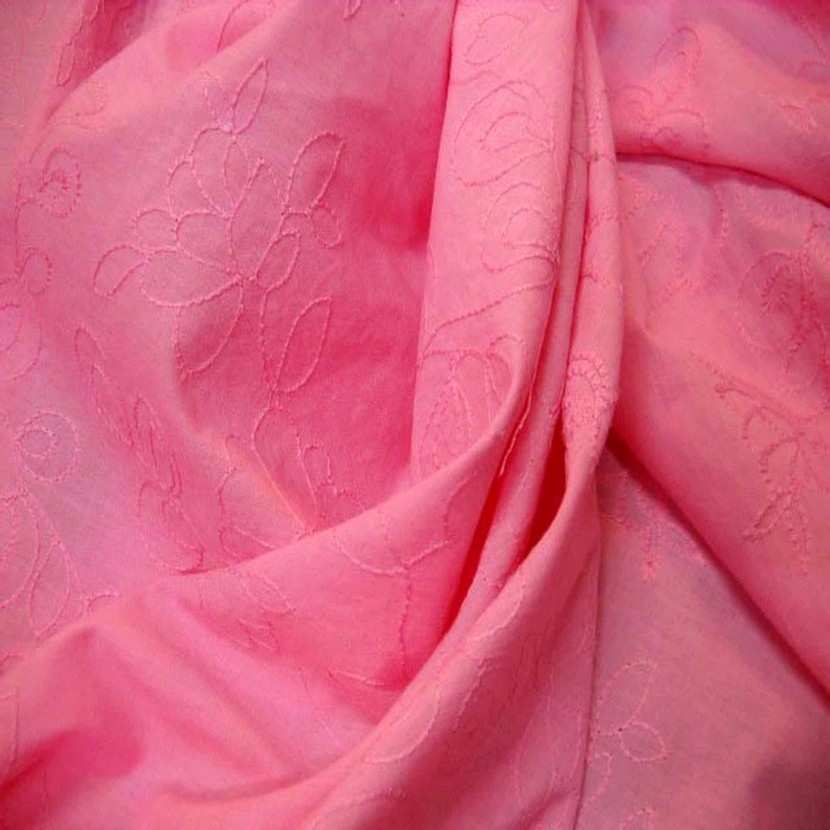 Coton fin rose brode
