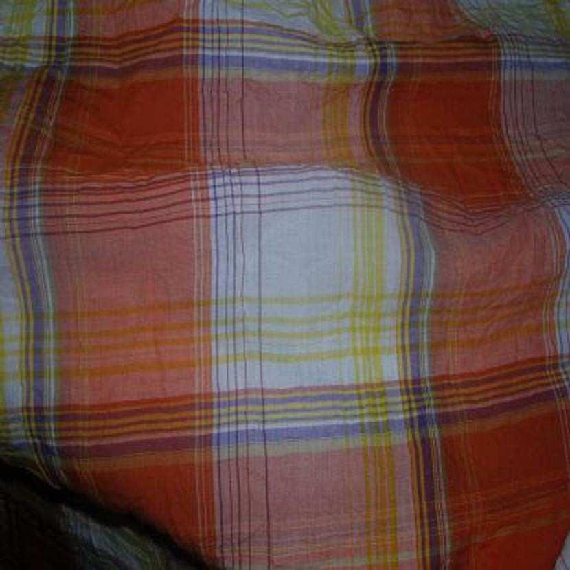 Coton froisse permanent imprime carreaux ton orange0