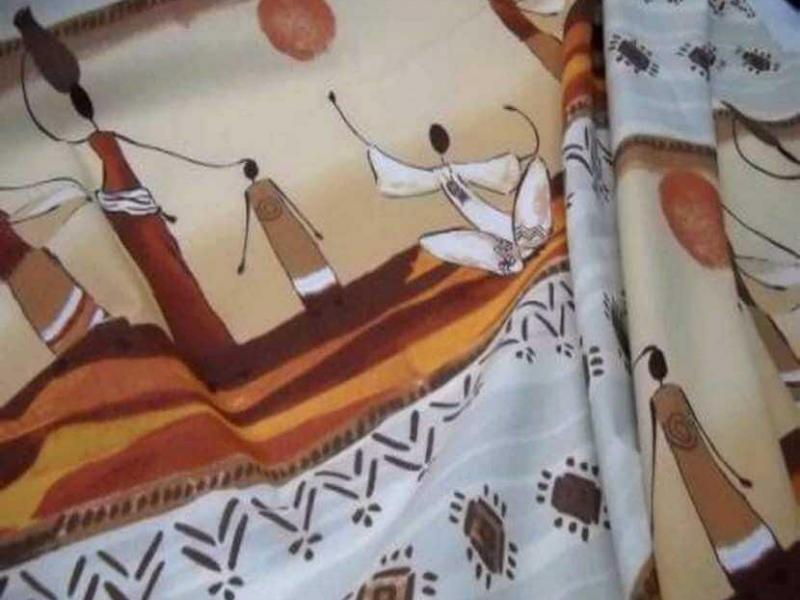 tissu coton imprime africain ton beige en 1 70m de large