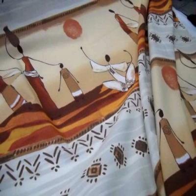 Coton imprime africain ton beige en 1 70m de large
