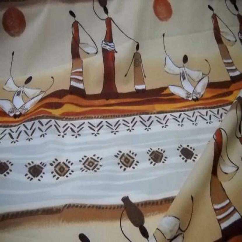 Coton imprime africain ton beige en 1 70m de large6