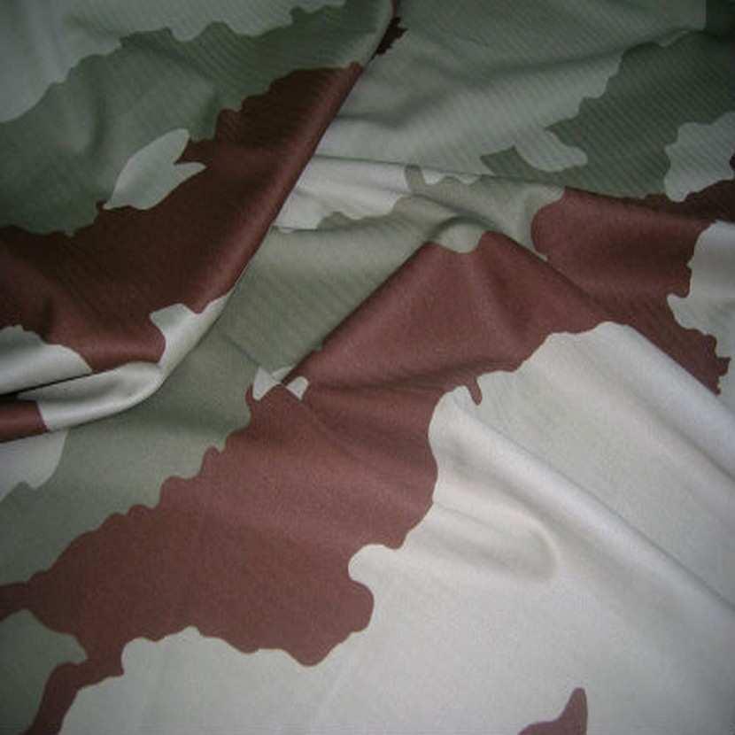 Coton imprime armee beige kaki et marron