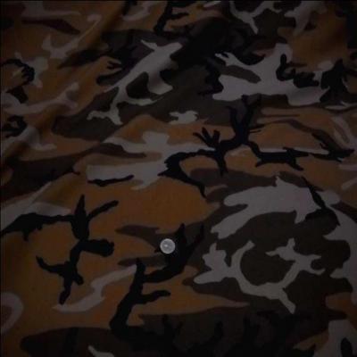 Coton imprime armee camouflage ton marron