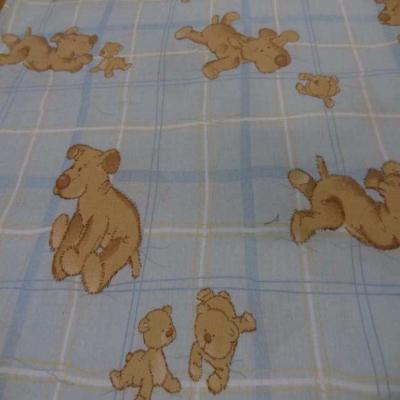 Coton imprime enfant bleu motif petit chien