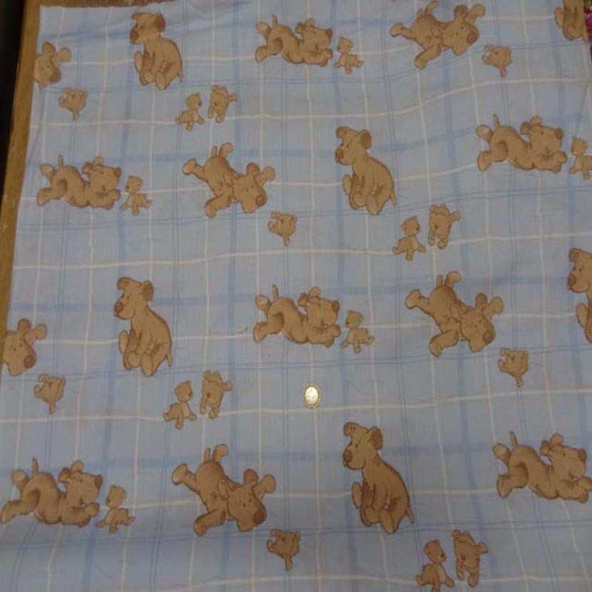 Coton imprime enfant bleu motif petit chien08