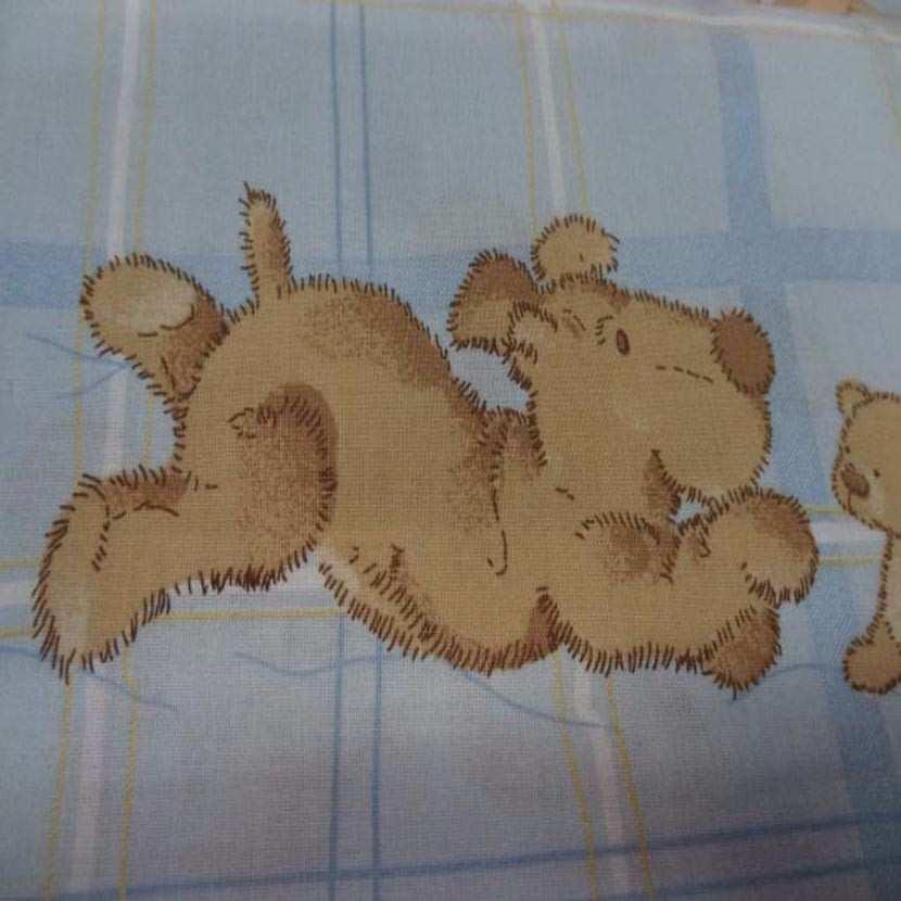 Coton imprime enfant bleu motif petit chien8