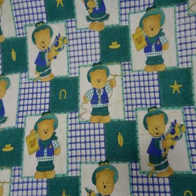 Coton imprime enfant ourson bleu vert5