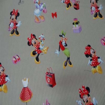 Coton imprime enfant ton beige imprime mini et clara belle