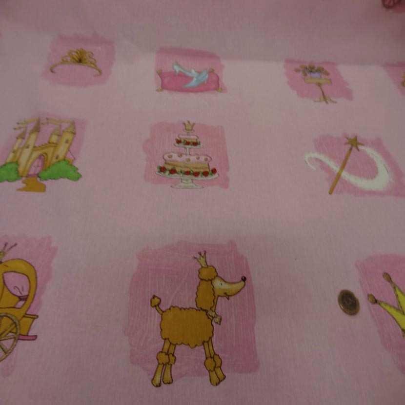 Coton imprime enfant ton rose07