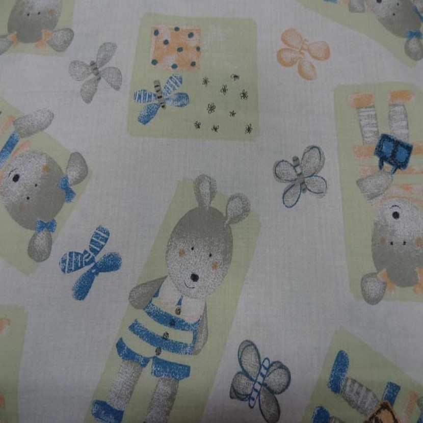 Coton imprime enfants ourson et papillons