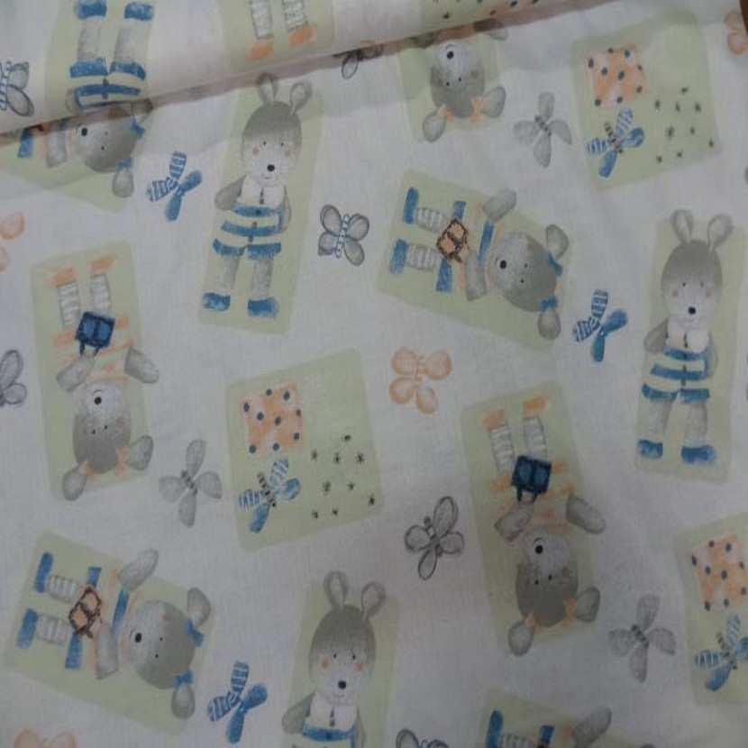 Coton imprime enfants ourson et papillons3