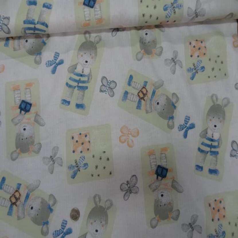 Coton imprime enfants ourson et papillons5